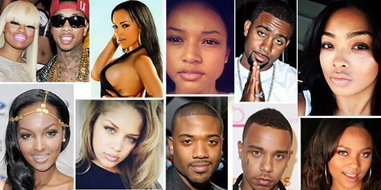 The cast of the new VH1 reality show Love and Hip Hop Hollywood. The women all wear full heads of virgin hair extensions.