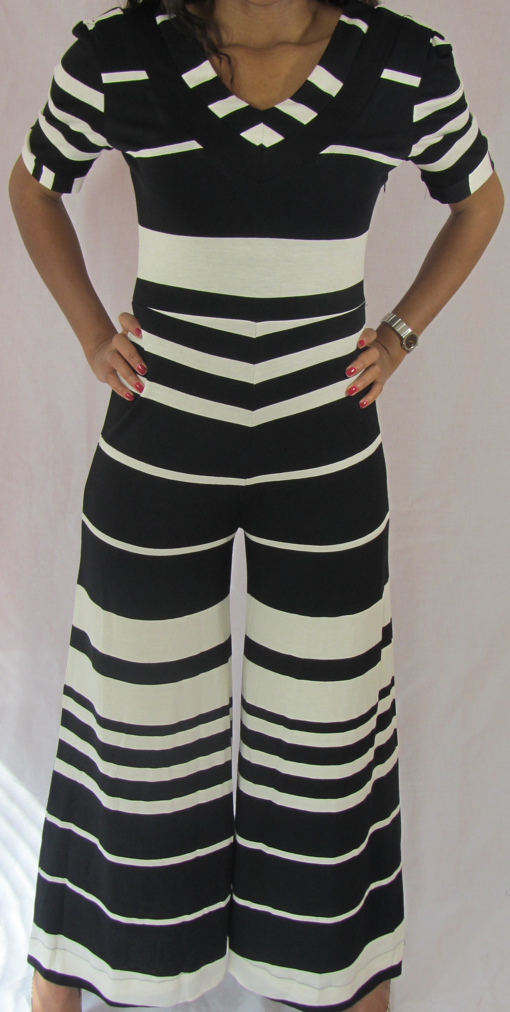 Black and White Jumpsuit Front