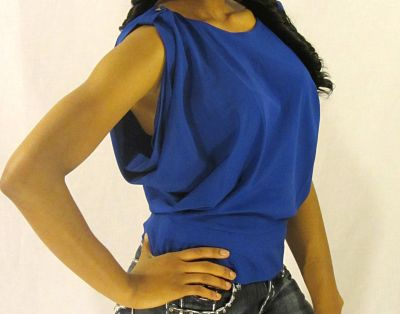 Kassy Blue Backless Top Front