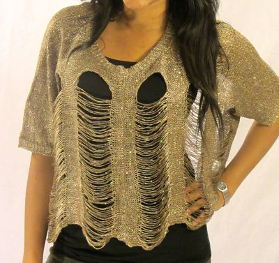 Kayla Mess Top in Gold Front