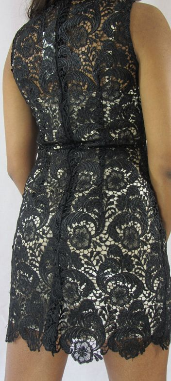 Klassy Black Lace Sleeveless Dress Back