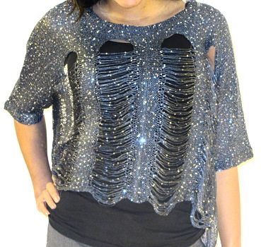 Kayla Mess Top in Metal Color Front 1