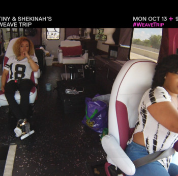 Tiny and Shekinah on the road, with the latter driving the Weave Trip bus.