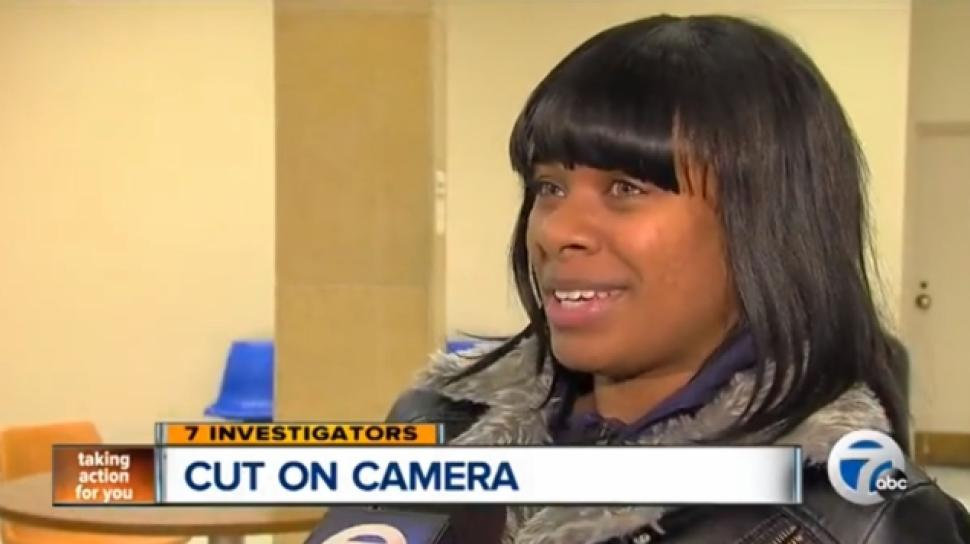 Charda Gregory Video shows Michigan cop cutting woman's hair weave out.